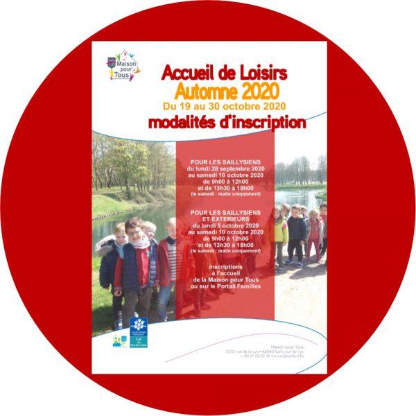 INSCRIPTIONS ACCUEIL DE LOISIRS AUTOMNE 2020